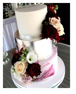 3-Tier Silver Marble Wedding Cake
