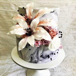 Moody Marble Engagement Cake